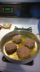 7.  Then the turkey burgers (or meatballs) follow in the same pan.  9:30 am...wrapping up soon.
