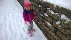 """I'm throwing snow at Mommy,"" the child said in glee after she realized she could do just that."