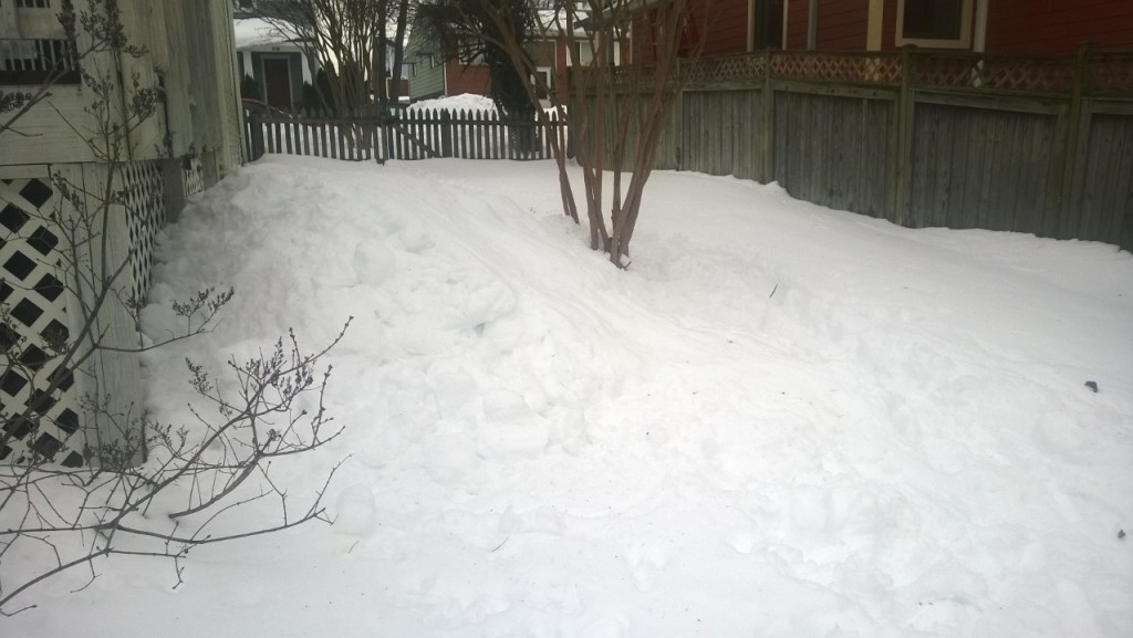 Photo: Ilana Hulsey Rea - The 6 foot tall sledding run I built for Em with the deck snow.